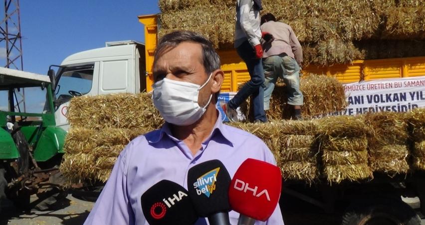 Köy köy 3 bin 200 balya ücretsiz saman dağıtıldı
